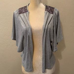 Marks & Spencer gray cardigan sequined knit top